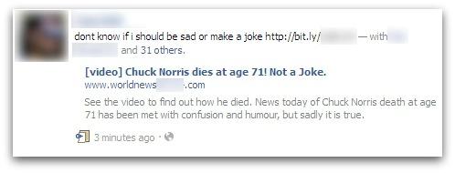 Annonce de la mort de Chuck Norris dans Facebook