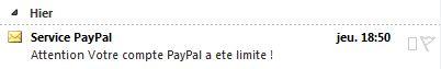 Mail de phishing dans Outlook