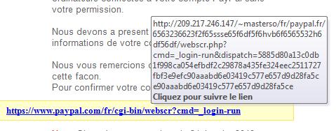 URL malicieuse dans un mail de phishing Paypal