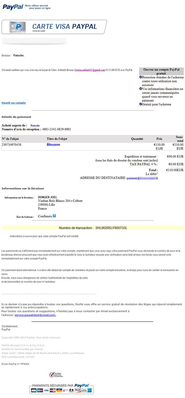 Arnaque sur LeBonCoin via PayPal