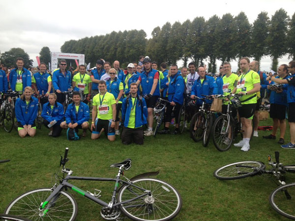 Our 82 cyclists at the finish of the Palace to Palace challenge.