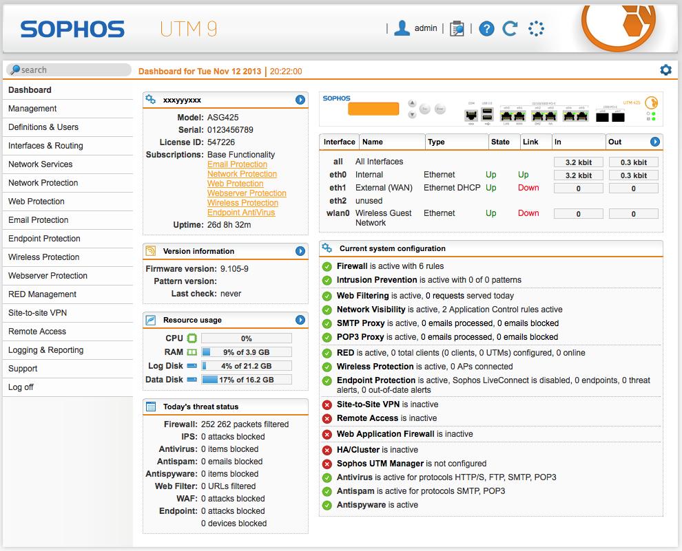 Sophos UTM 9 dashboard