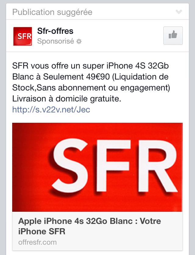 Arnaque SFR Facebook