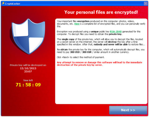 Cryptolocker encrypts a victim's files and demands a ransom.
