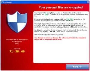 Cryptolocker encrypts a victim's files and demands a ransom.