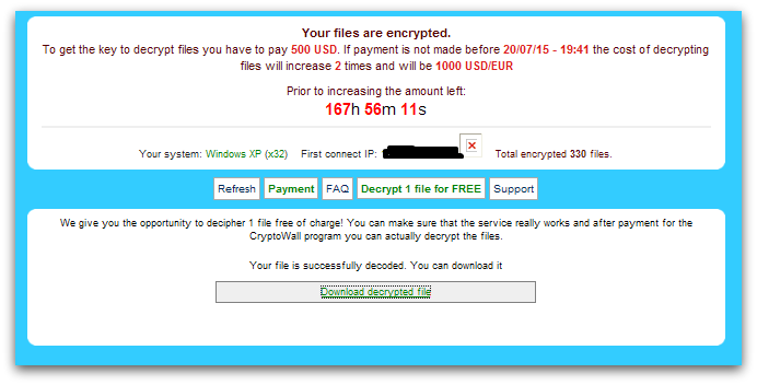cryptowall free decryption service