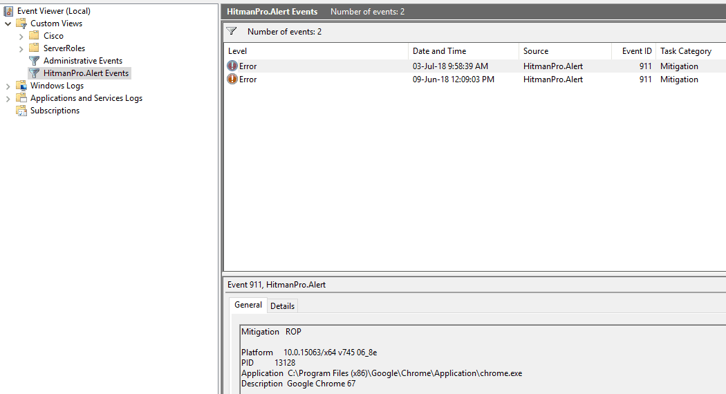 ROP in Event Viewer