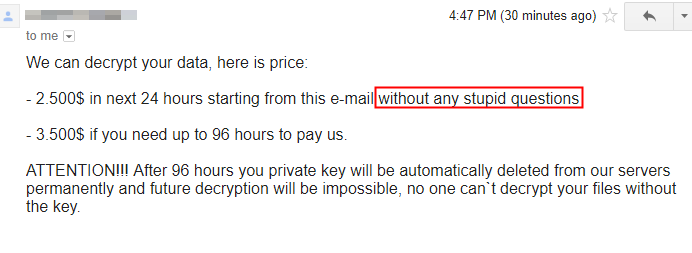 Matrix ransom demand email