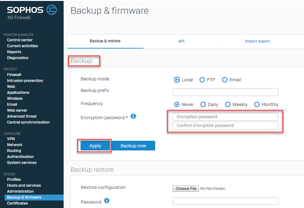 Backup encryption password at the time of backup and restore2