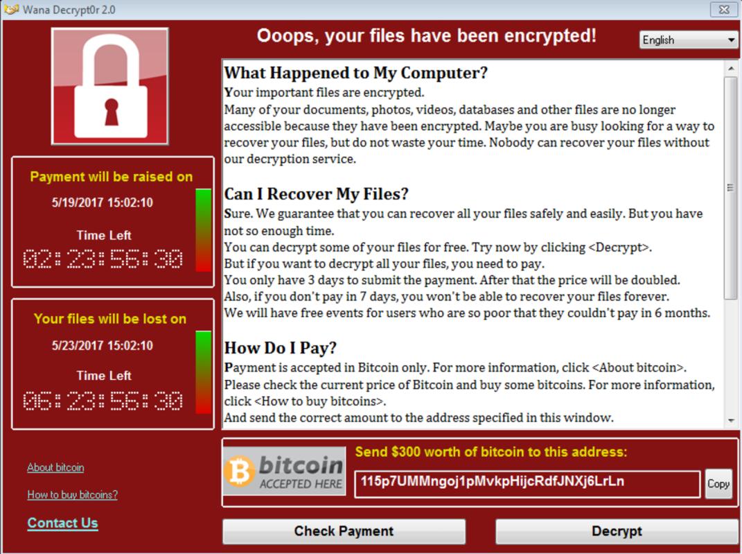 WannaCry ransom note