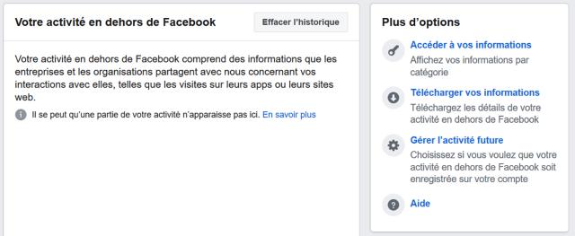 activite en dehors de Facebook
