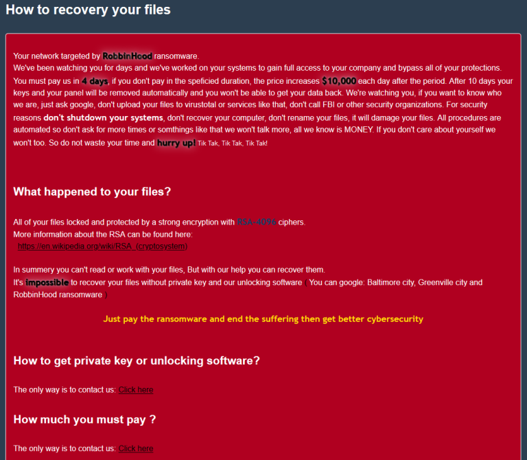 RobinHood Ransomware-Meldung