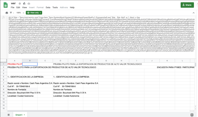 malicious Google spreadsheet