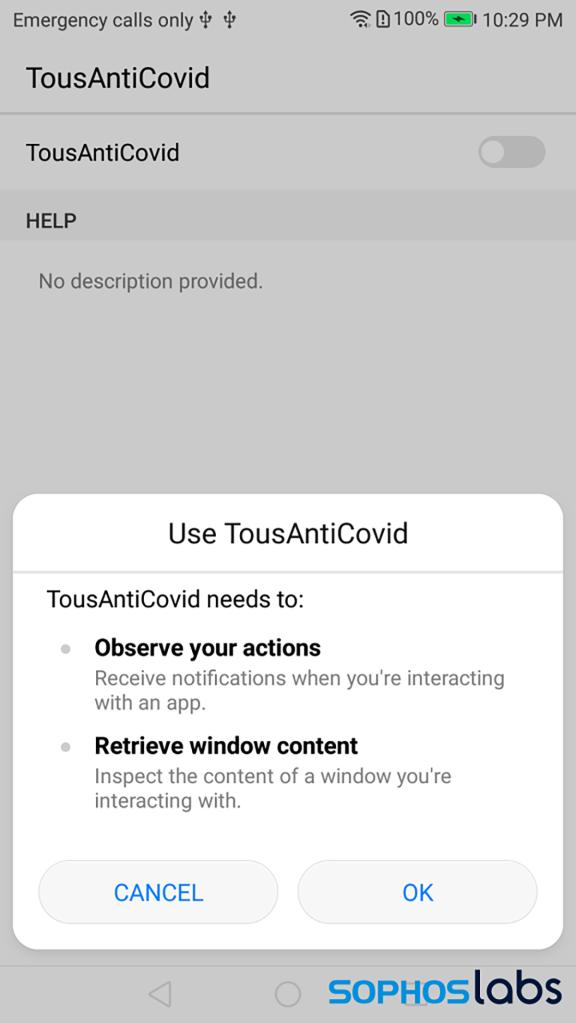 application de contact tracing