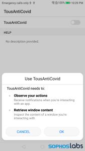 tousanticovid permissions screen