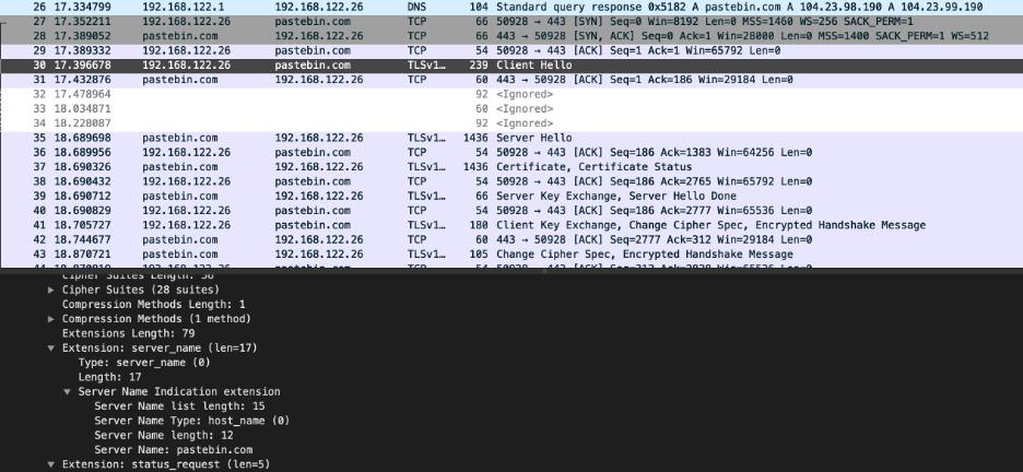 Wireshark screen capture of dropper calling Pastebin page