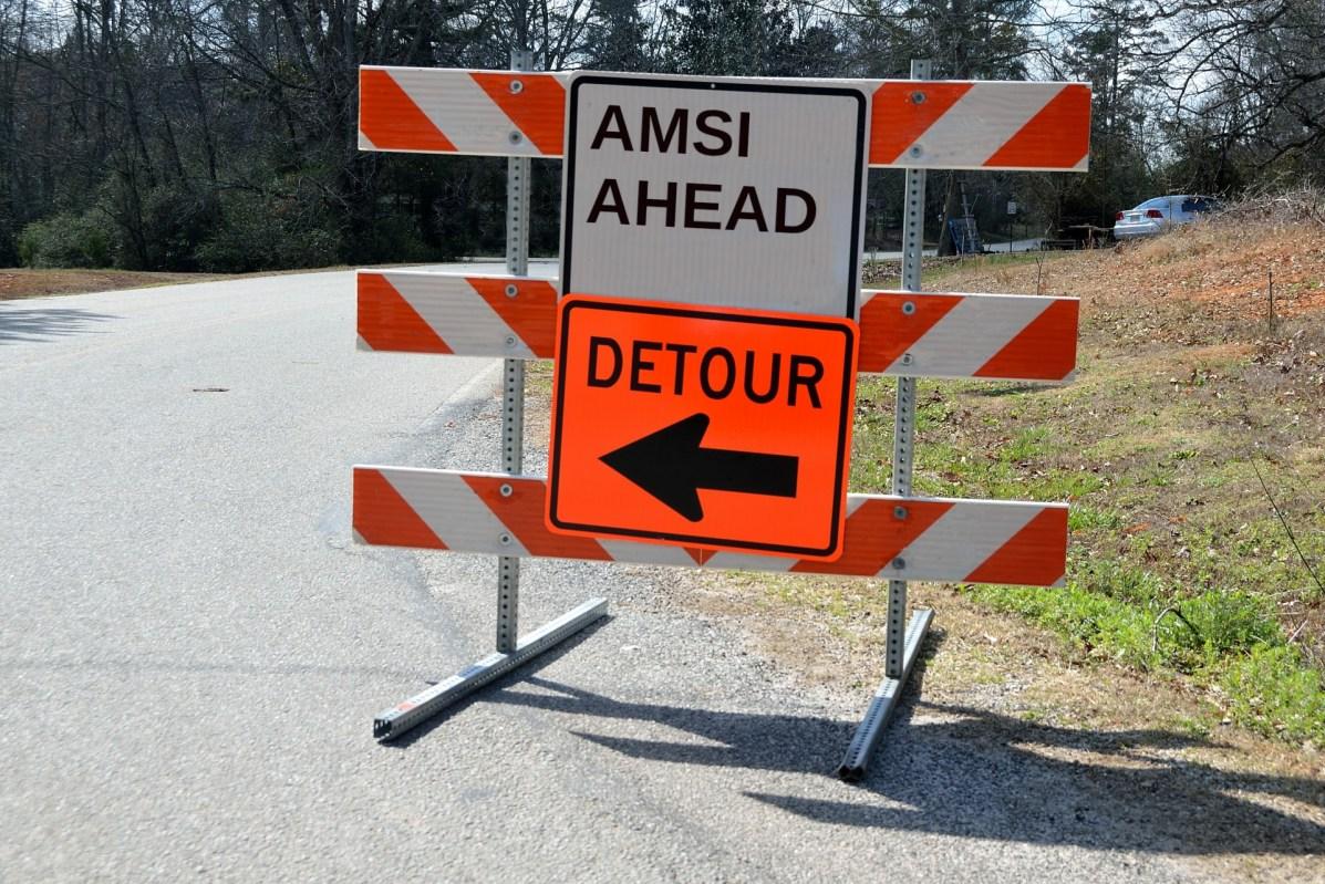 Altered detour sign